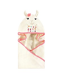 Unisex Baby Animal Face Hooded Towel, Llama 1-Pack