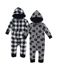 Yoga Sprout Unisex Baby Fleece Union Suit/Coveralls and Sleep and Play, Unicorn Fleece Coverall 2-Pack, 0-24 Months