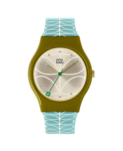 Lola Rose Orla Kiely Watch, Sky Blue Strap With Buckle Closure