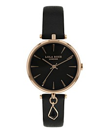"""""""Success"""", Ladies, Black Leather Strap with Genuine Black Agate Stone Hanging Charm, 34MM"""
