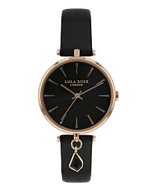 """Lola Rose """"Success"""", Ladies, Black Leather Strap with Genuine Black Agate Stone Hanging Charm, 34MM"""