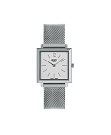 Heritage Square Silver Stainless Steel Case White Dial and Silver Mesh Bracelet