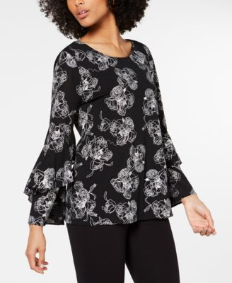 Embroidered Ruffle-Sleeve Top, Created for Macy's