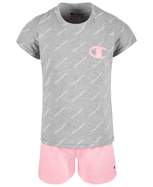 Champion Little Girls 2-Pc. Logo-Print T-Shirt & Shorts Set