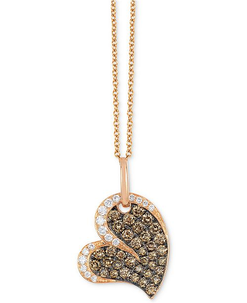 "Le Vian Chocolatier® Diamond  Heart 18"" Pendant Necklace (3/4 ct. t.w.) in 14k Rose Gold"