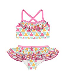 Masala Baby Girls Ruffled Two Piece Mosaic, 12Y