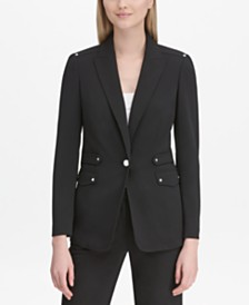Calvin Klein One-Button Notched-Collar Jacket