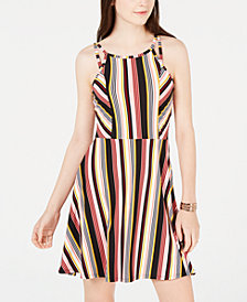 Planet Gold Juniors' Double-Strap Printed Skater Dress, Created for Macy's