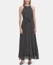 Calvin Klein Printed Halter-Neck Ruffle-Hem Dress