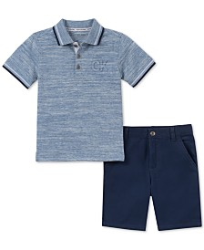 Calvin Klein Baby Boys 2-Pc. Polo Shirt & Twill Shorts Set