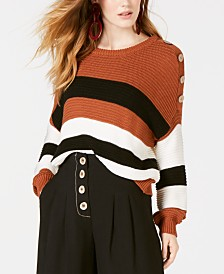 House of Polly Striped Oversized Button-Detail Sweater