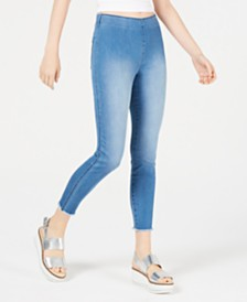 Rewash Juniors' Raw-Hem Denim Jeggings