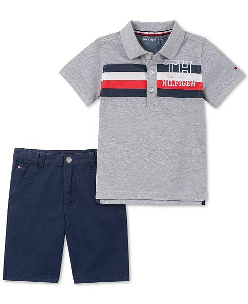 5d7537ffd Tommy Hilfiger Baby Boys 2-Pc. Striped Polo Shirt & Twill Shorts Set ...