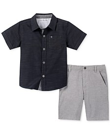 Calvin Klein Little Boys 2-Pc. Textured Stripe Shirt & Shorts Set