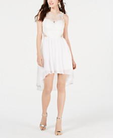 City Studios Juniors' High-Low Lace-Contrast Dress