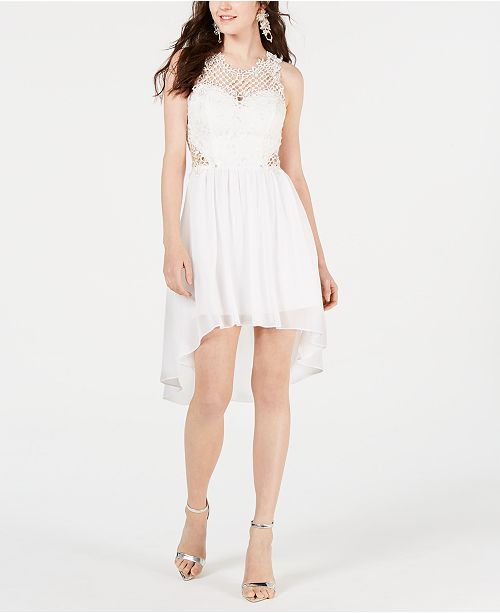 City Studios Juniors' High-Low Lace-Contrast Dress
