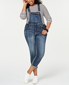 Dollhouse Juniors' Plus Size Skinny Denim Overalls
