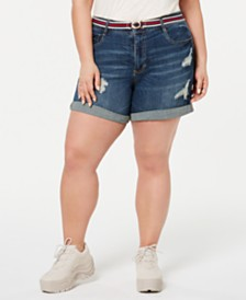 Dollhouse Juniors' Plus Size Belted Denim Shorts