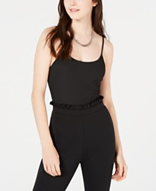 Material Girl Juniors' Rib-Knit Spaghetti-Strap Bodysuit, Created for Macy's