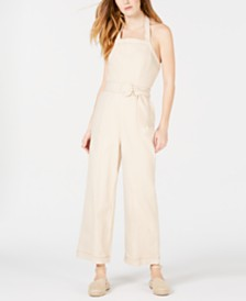 Moon River Cotton Halter-Neck Belted Jumpsuit