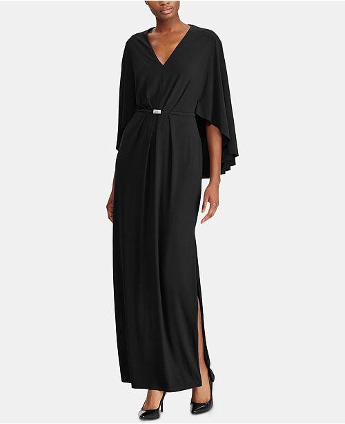 Lauren Ralph Lauren Belted Cape Jersey Gown