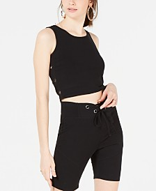 Material Girl Juniors' Cropped Grommet-Trimmed Tank Top, Created for Macy's