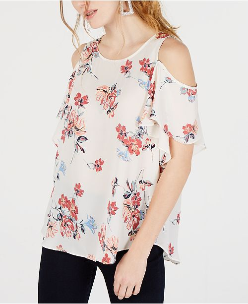 BCX Juniors' Printed Cold-Shoulder Flutter-Sleeved Top