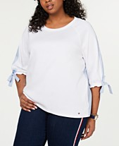 564696ea6 Tommy Hilfiger Plus Size Cotton Tie-Cuff Top, Created for Macy's