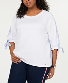 Tommy Hilfiger Plus Size Cotton Tie-Cuff Top, Created for Macy's