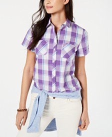Tommy Hilfiger Plaid Button-Down Top