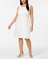 9c407546 Kasper Plus Size Embellished-Waist Jacquard Sheath Dress