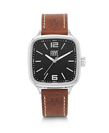 Frye Mens' Bowery Square Whiskey Leather Strap Watch