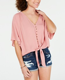 Ultra Flirt Juniors' Solid Tie-Front Top