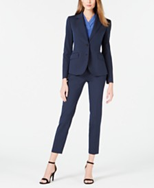 Anne Klein Striped Seersucker Two-Button Jacket & Pants