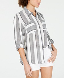 Juniors' Roll-Sleeve Utility Shirt