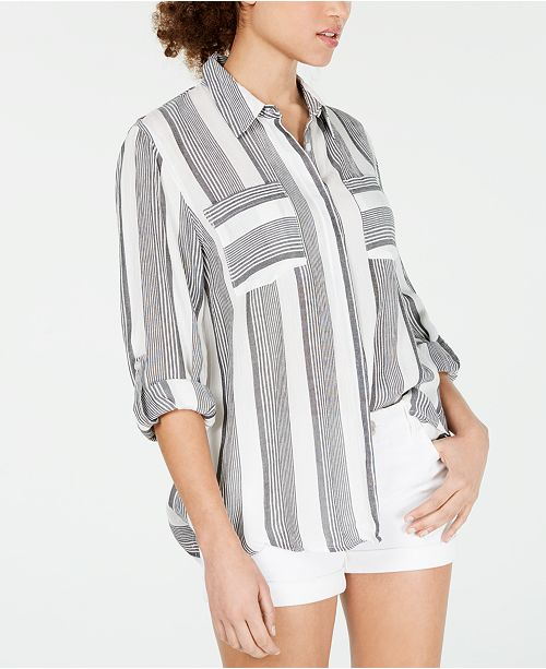 Hippie Rose Juniors' Roll-Sleeve Utility Shirt