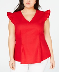 Monteau Trendy Plus Size Ruffle-Sleeve Top
