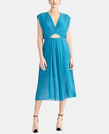 RACHEL Rachel Roy Galen Pleated Cutout Midi Dress