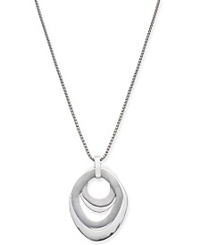 "Alfani Silver-Tone Multi-Ring Sculptural 34"" Pendant Necklace, Created for Macy's"