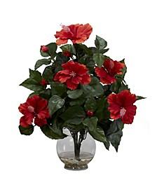 Hibiscus w/Fluted Vase Silk Flower Arrangement