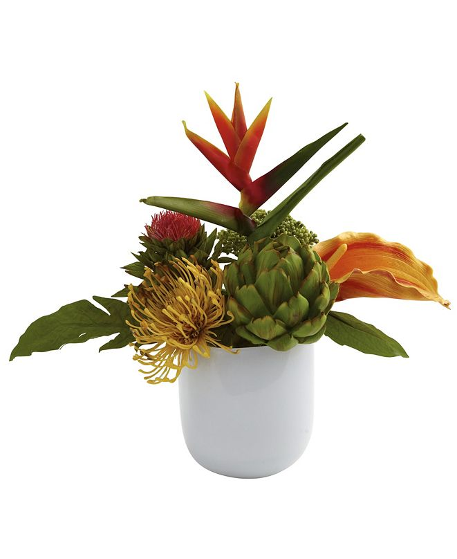 Nearly Natural Tropical Floral Arrangement w/ White Glass Vase