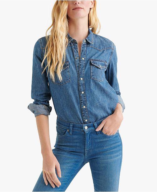 45ab12f5b9 Lucky Brand Cotton Western Shirt   Reviews - Tops - Women - Macy s