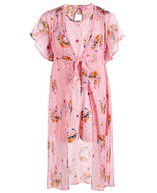 Belle Du Jour Big Girls 2-Pc. Floral-Print Kimono & Romper Set