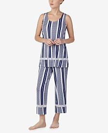 Ellen Tracy Sleeveless Top and Cropped Pajama Pants Set