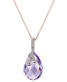 "Pink Amethyst (4-1/2 ct. t.w.) & Diamond (1/10 ct. t.w.) 18"" Pendant Necklace in 14k Rose Gold"