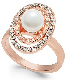 Charter Club Rose Gold-Tone Pavé & Imitation Pearl Double Halo Ring, Created for Macy's