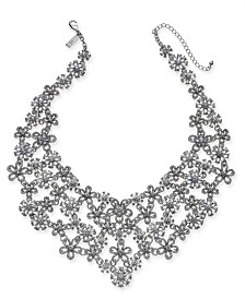 "I.N.C. Silver-Tone Crystal Flower Statement Necklace, 18"" + 3"" extender, Created for Macy's"