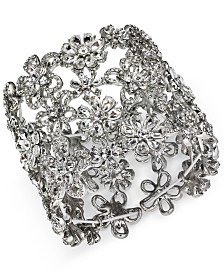 I.N.C. Silver-Tone Crystal Flower Wide Stretch Bracelet, Created for Macy's