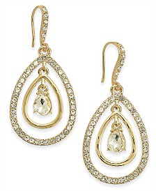 I.N.C. Gold-Tone Crystal Tear-Shape Orbital Drop Earrings, Created for Macy's