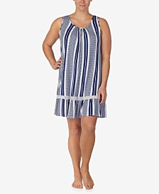 Ellen Tracy Plus-Size Printed Lace Trim Chemise Nightgown